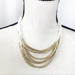 • LOFT • White Gold Beaded Layer Rope Necklace